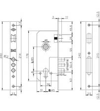 Корпус замка врезного Kale Kilit 152/3RМ (45 мм w/b никель)