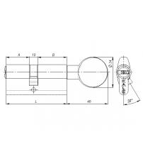 Ц/М с вертушкой KALE KILIT 164 SМ/62 мм (26+10+26), никель 5 ключей
