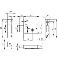Замок врезной FUARO 200 F CP (3 ключа, хром)