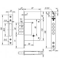 Замок врезной FUARO 200-4 МF/РВ (5 ключей, золото)