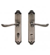 Ручки дверные на планке ARCHIE GENESIS ACANTO BL. SILVER- OL (чернёное серебро, фиксатор)