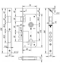 Корпус замка FUARO 900 3МR/РВ W/B (золото)