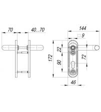 Ручка FUARO DH-0433NE (чёрная, нейлоновое покрытие, с пружиной, для замков FL-0432, 0433,0434)