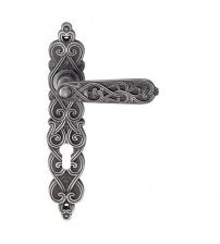 Ручки дверные на планке ARCHIE GENESIS ARABESCO BL. SILVER- CL (чернёное серебро, под цилиндр)