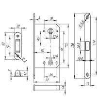 Защёлка врезная FUARO MAGNET M-96 WC-50 CP (хром)