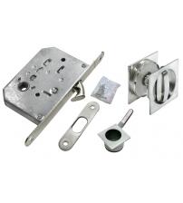 Комплект квадратных ручек для раздвижных дверей с защёлкой MORELLI MHS-2 WC SC (матовый хром)