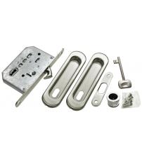 """Комплект ручек для раздвижных дверей с замком под ключ-""""буратино"""" MORELLI MHS-150 L SC (матовый хром)"""