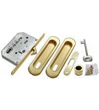 """Комплект ручек для раздвижных дверей с замком под ключ-""""буратино"""" MORELLI MHS-150 L SG (матовое золото)"""