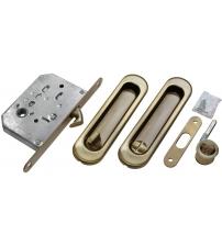Комплект ручек для раздвижных дверей с защёлкой MORELLI MHS-150 WC AB (бронза)