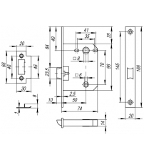 Защёлка врезная FUARO PLASTIC P72-50 AB (бронза)